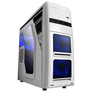 NEW V8 White Gaming ATX / MATX PC Computer Case Chassis with ESATA, USB 3.0 & 2.0 and 2 x 12cm Blue LED Fans - Front Panel Temperature Control, Tool Free Design, Side Window, Watercooling Ready (No PSU) (B00GB7F2OA)   Amazon price tracker / tracking, Amazon price history charts, Amazon price watches, Amazon price drop alerts