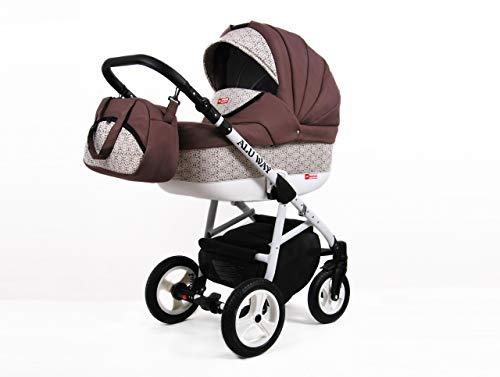 Kinderwagen BABYLUX ALU WAY LATTE, 3 in 1- Set Wanne Buggy Babyschale,Muffe