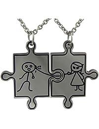 6992495eaeb0 Hanessa de acero inoxidable en plata pareja 2 Puzzle te quiero cadenas!  Regalo