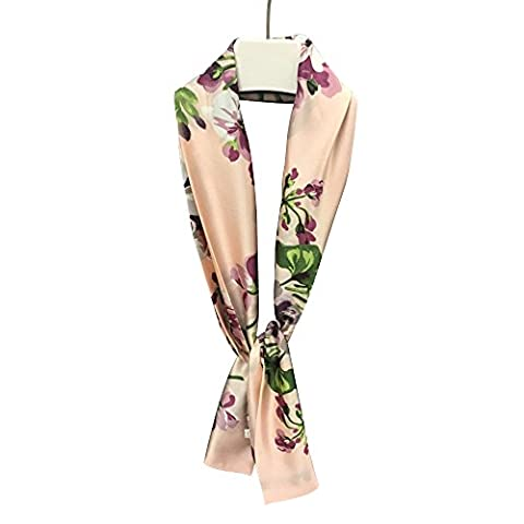 Eizur Women Vintage Printing Floral Scarf Ladies Silk Scarves Satin