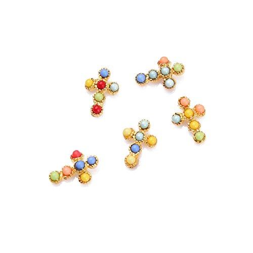 5Pcs Kit Décoration Nail Art Croix Métal 3D Manucure Incrusté de Pierre Cristal Bijoux DIY Ongle Multicolore RAIN QUEEN