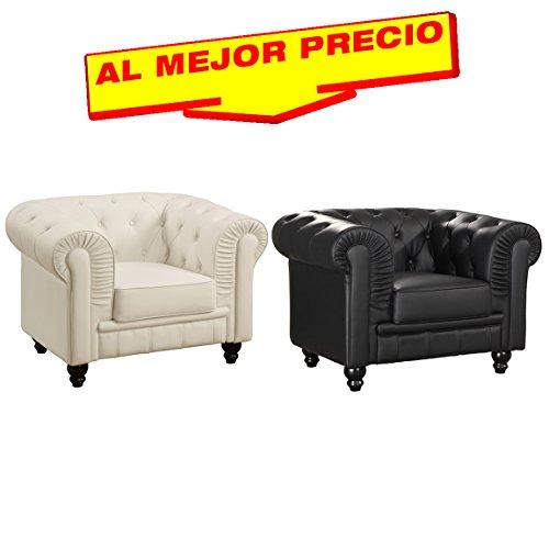 SILLÓN CHESTER DE SALÓN Y OFICINA TAPIZADO EN SIMILPIEL DISEÑO MODERNO -EDICIÓN LIMITADA CHESTERFIELD ENGLAND- OFERTAS HOGAR -DISPONIBLE EN VARIOS COLORES-¡AL MEJOR PRECIO! (Blanco)