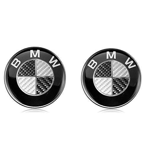 2 x BMW Stemma Emblem 82mm Cappuccio con logo sul cofano anteriore posteriore per BMW Serie