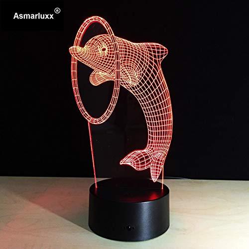 Lámpara Dolphin Night Lámpara Art Deco Increíble luz de noche colorida en...