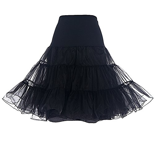 Dresstells® Women's Vintage 50s Rockabilly Net Petticoat Skirt Tutu Black M