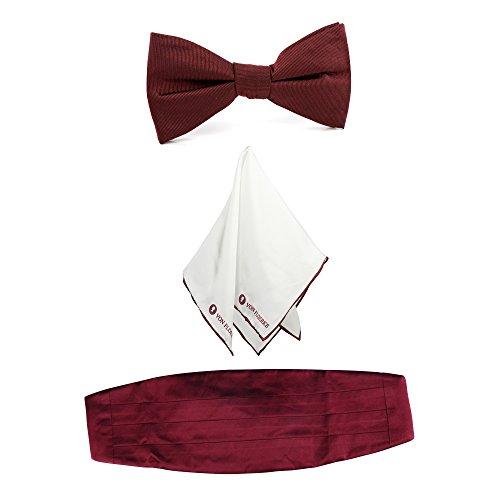 Smoking set Kummerbund Smokinggürtel Fliege Schleife vorgebunden mit passendem Einstecktuch Strunztuch und Socken – rot, rot aus 100% Seide by VON - Dinner-jacket Männer Die Weiße