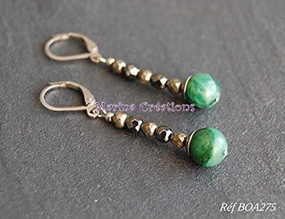 Boucles d'oreilles Jade vert naturel d'Afrique, pyrite naturelle et hématite véritable dormeuses hypoallergéniques en acier inoxydable