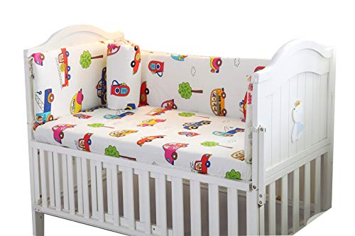Baby Infant Crib Bumper Pads Bed Cotton Safety Rail Guard Breathable, Cradle Protector, Cot Sleep Bumper Pillow, Machine Washable, Bed Sheet, 4-Sides Coverage, 111×63,A1