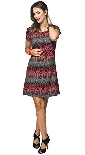 *2in1 elegantes und bequemes Umstandskleid / Stillkleid, Modell: NINA, kurzarm, rot-schwarz, S*