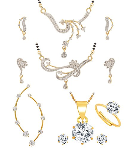 Jewels Galaxy White Gold-Plated 2 Mangalsutra Earrings Set, 1 Ruby Earcuff, 1 Pendant Earrings Set - Combo Of 5 For Women