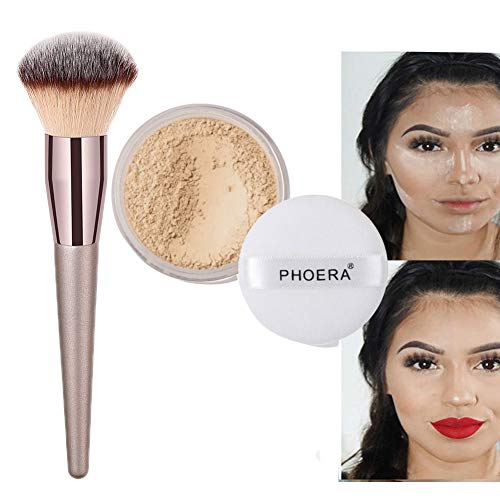 Bronze Loose Powder (Lucoss Puder Pinsel Set, Loose Powder Matt Leichtes Puder Ölkontrolle Transparent Natural Fixing Powder - 1*Gesicht Puder+1*Puder Pinsel)