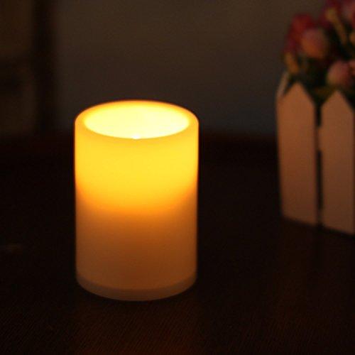 paracity LED Kerze Licht Akku betrieben flammenlose Kunstharz Säule LED-Teelicht Kerze Bernstein Licht für Indoor Outdoor Dekoration Hochzeit Urlaub Geburtstag Parteien mit 4& 8Stunden Timer 1Stück