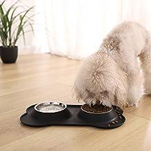 AmazonBasics Dog Bone Shaped Silicone Pet Bowl Combo - Black
