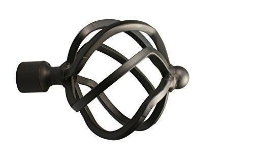 Gardinenstangen Endstück Flammenkugel aus Metall für 16 mm Durchmesser, Schwarz