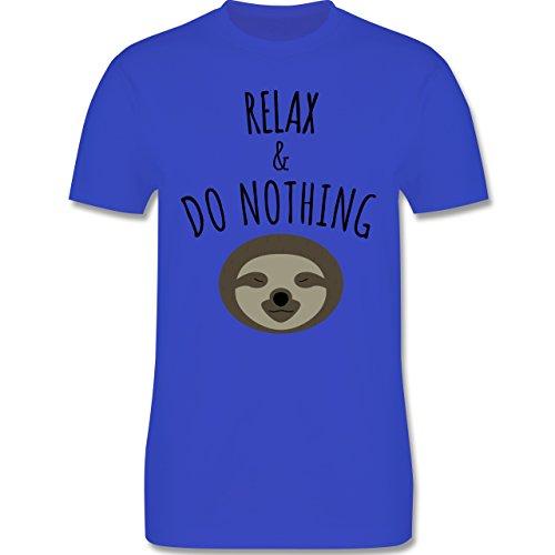 Statement Shirts - Relax & Do Nothing - Faultier - Herren Premium T-Shirt Royalblau