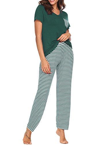 UNibelle Damen Schlafanzug Pyjamas Set Kurzarm Nachtwäsche Mit Spitze Loungewear ()