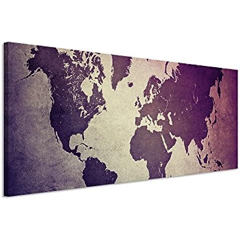 120x 40cm Imagen panorámica sobre lienzo mapamundi antiguo