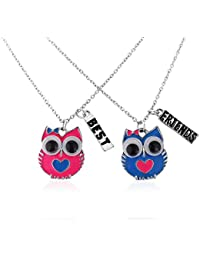 Fashion Owl bestfriends necklace for 2 girls includes gift bags