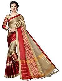 3b6db34a933976 AnK Women s Latest Cotton Silk Saree with Blouse Piece