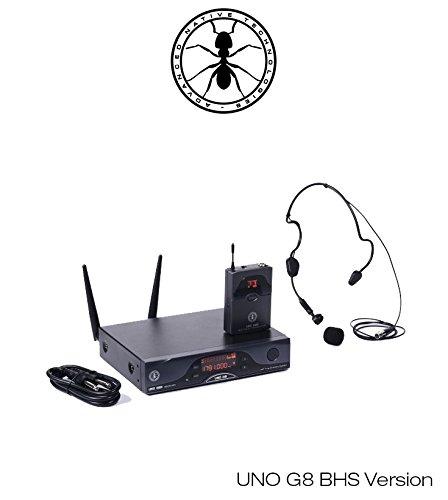 ANT UNO G8 BHS Sistema Microfonico Wireless UHF Professionale ad Archetto, Nero