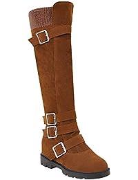 BIGTREE Botas para Mujer, Zapatos Planos, Botas hasta la Rodilla, Zapatos de otoño Invierno, Cremallera, Tacones de Bloque Botas de Nieve de Gamuza cómodas y cómodas