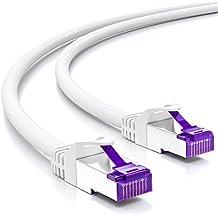Cable de remiendo deleyCON 30m es un cable de red con cable múltiple CAT7 / CAT-7 Gigabit Lan SFTP de cobre / compatible con conmutadores, enrutadores y páneles de conexión - Blanco