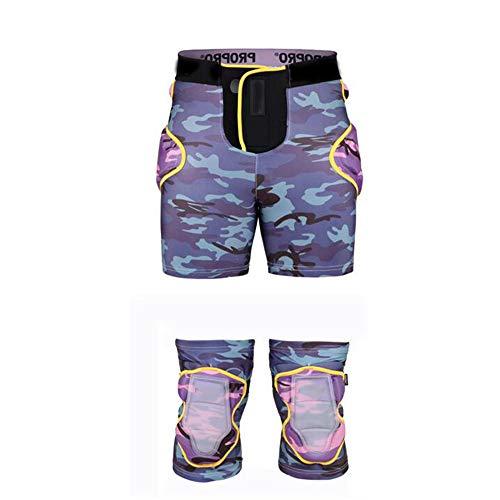 Hüftschutz, Outdoor Gepolsterte Hosenanzug Schutzausrüstung Klettverschluss Verstellbare Leichte Atmungsaktive Shorts Impact Butt Shorts Zum Skifahren Snowboard Radfahren Für Frauen Männer,Purple,XL -