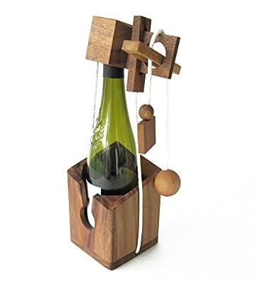 Casse-tête pour bouteille - jeu puzzle en bois massif - difficulté 3/6 - accessoire de vin – Norme CE - Marque LEDELIRANT ® idée cadeau original Noël, anniversaire, fête des pères. cadenas