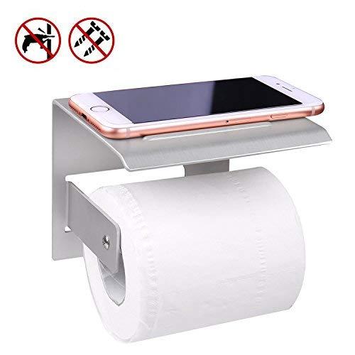 Klopapierhalter,Klorollenhalter,Badezimmer Accessoires,Klopapier Halterung mit Ablage für Handy,Klopapier Halterung(Aluminium) (Easy Home Tablet 7)