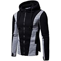Yvelands Mens Costura Plisada de Manga Larga Sudadera con Capucha de Manga Larga Top, Hot!