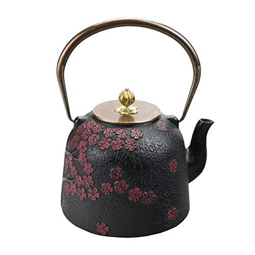 417vk2c jvL - QINJLI Eisen Topf aus Gusseisen Teekanne antike japanische Gusseisen Topf Cherry Blossom Brillante Eisen Wasserkocher Tee Wasserkocher Tee Teekanne 1.4 L