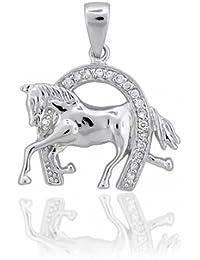 Bling Jewelry Plata Esterlina Colgante Herradura con caballo