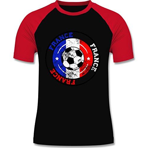 EM 2016 - Frankreich - France Kreis & Fußball Vintage - zweifarbiges Baseballshirt für Männer Schwarz/Rot