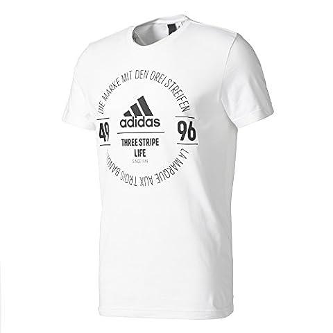 adidas Herren Logo T-Shirt, White, L