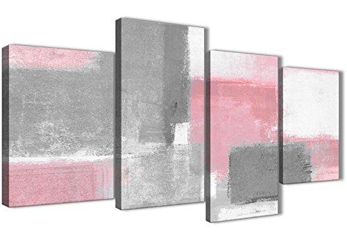 Grande color rosa pálido gris pintura abstracta dormitorio cuadros en lienzo Decor–4378–130cm juego de Prints Wallfillers