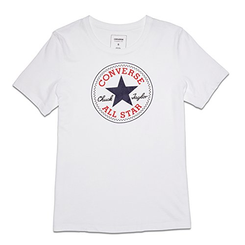 Converse T-shirts - Converse Core Solid Chuck Patch Crew T-Shirt - White (Jersey T-shirt Converse)
