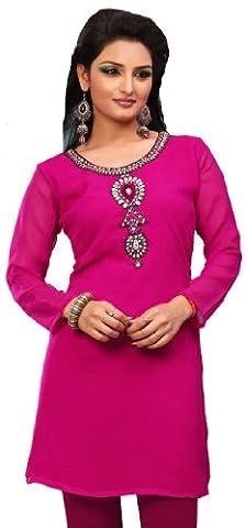 Kurti Top Tunique Parti Femmes Robe Chemisier Inde Vêtements (Rose,