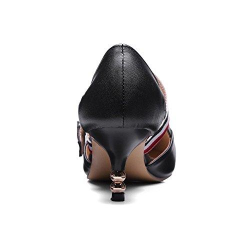 COOLCEPT Femmes Mode Cheville Mary Janes Court Chaussures Bout Ferme Escarpins Talon Moyen Chaussures Noir