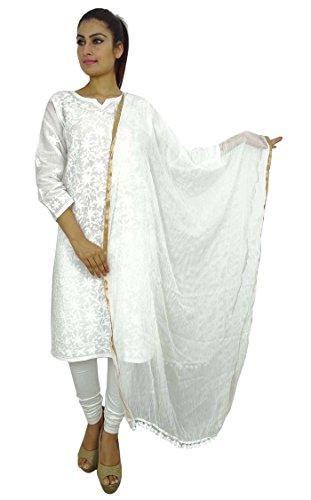 Indian Dupatta Ansatz-Verpackungs-Chiffon- lange Stola Chunni Werfen Troddelschal