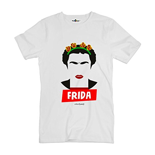 Camiseta T-shirt parodia Vintage Creation Frida pittrice México Khalo Rivera M, blanco