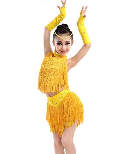 Freestyle Kostüm Wettbewerbs - SMACO Kinder Latin Dance Kostüme Mädchen Quaste Kinder Performance Kostüme Tanz Kostüm Wettbewerb Gelb Rot Blau,Yellow,120CM