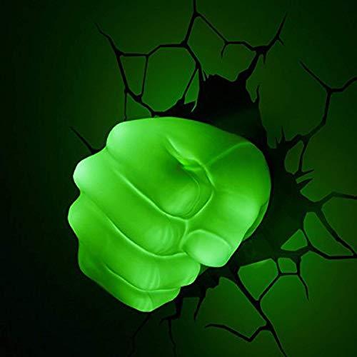 BLL Lámpara de Pared Decorativa para habitación de niños, Avengers League puño de Hulk, Crack Etiqueta...