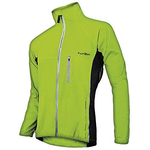 Funkier Luino Herren Regenjacke, Fahrradjacke, fluoreszierende Farbe, Größe L