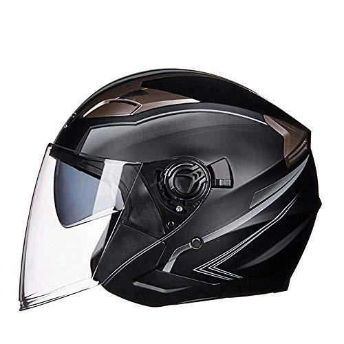 KUVV Perfecto Casco Moto Elettrico Casco Doppio Lente Mezza Maschera Casco Retro Casco Moda Casual Confortevole Occhiali Lunghi (Size : L)