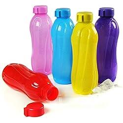 Cello Aqua Kool Polypropylene Bottle Set, 1.1 Litres, 5-Pieces, Multicolour