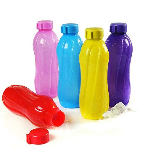Cello Aqua Cool Polypropylene Bottle Set, 1 Litre, Set of 5, Multicolour