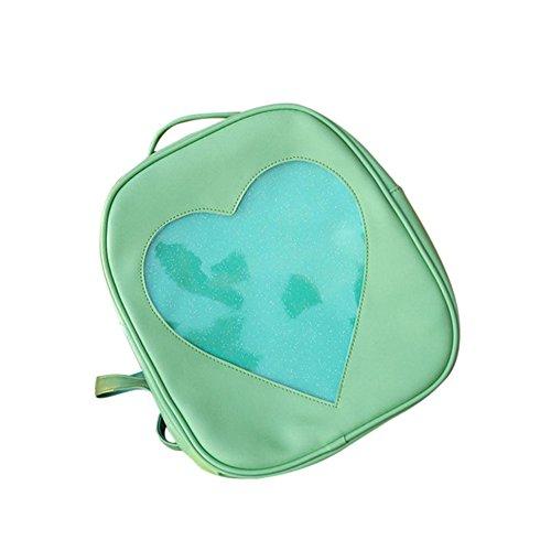 Longra Donna Primavera e estate trasparente zaino di modo del cuore di amore Verde