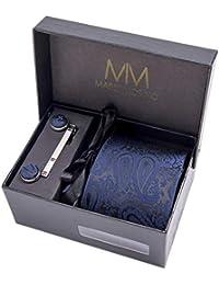 Massi Morino ® Set Cravate Homme (avec Mouchoir + Boutons de Manchette + épingle à Cravate) avec Coffret Cadeau (Paisley Bleu foncé)