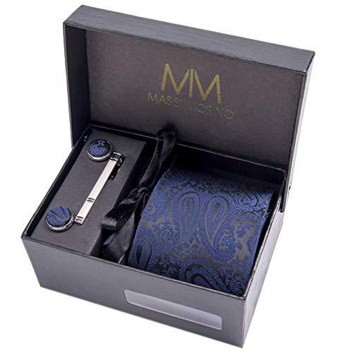 Massi Morino ® Herren Krawatte Set mit umfangreicher Geschenkbox blau blaue dunkelblau naviblau marineblau arktikblau pazifikblau azorenblau blauekrawatte dunkelblauekrawatte paisley paisleyfarben