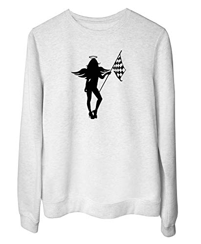 s-Sweatshirt fur Frau Weiss FUN3253 Race Angel Babe ()